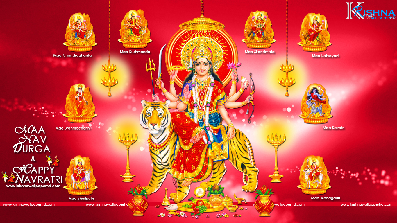 Maa Nav Durga and Happy Navratri Wallpaper