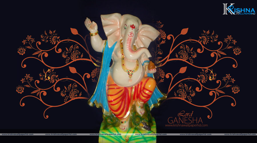 Wallpaper of Standing Lord Ganesha in Full HD Size Free Download