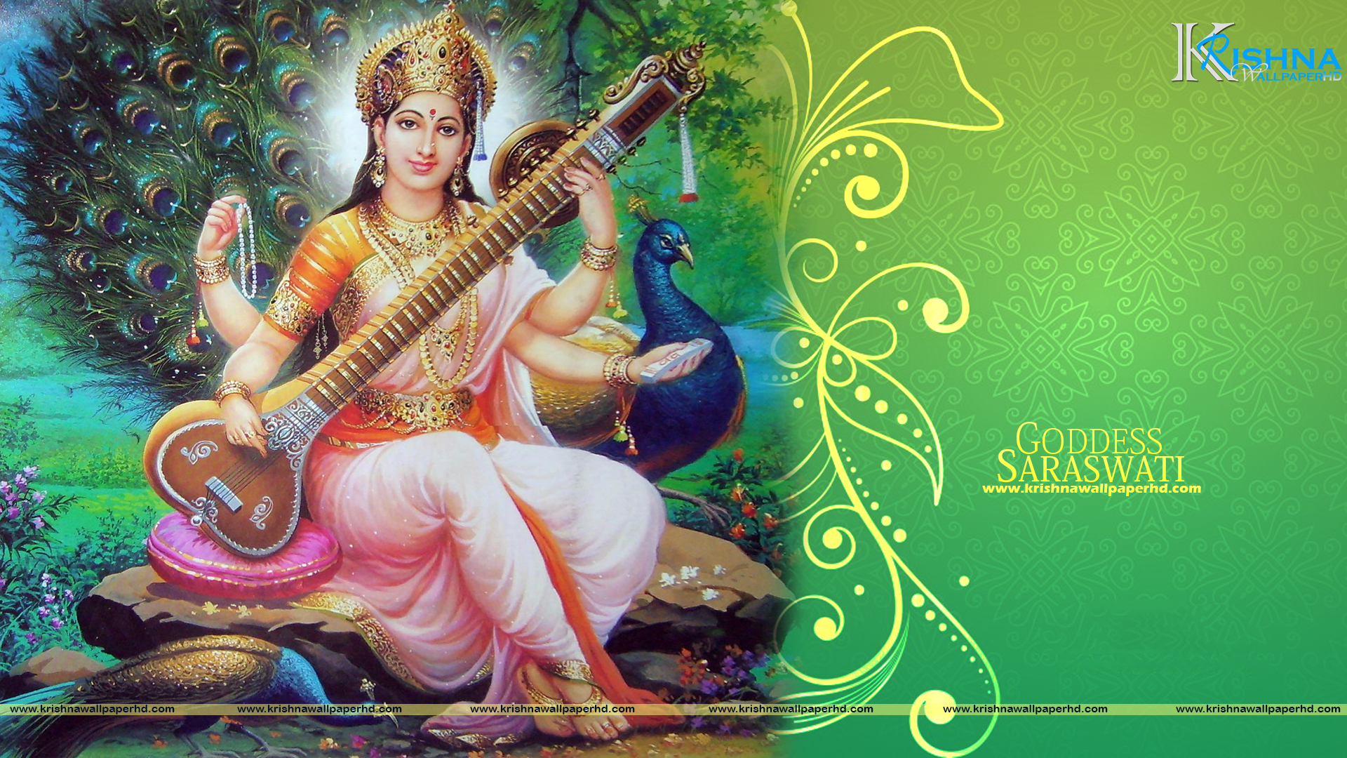 Goddess Saraswati Full HD Size Wallpaper Free Download