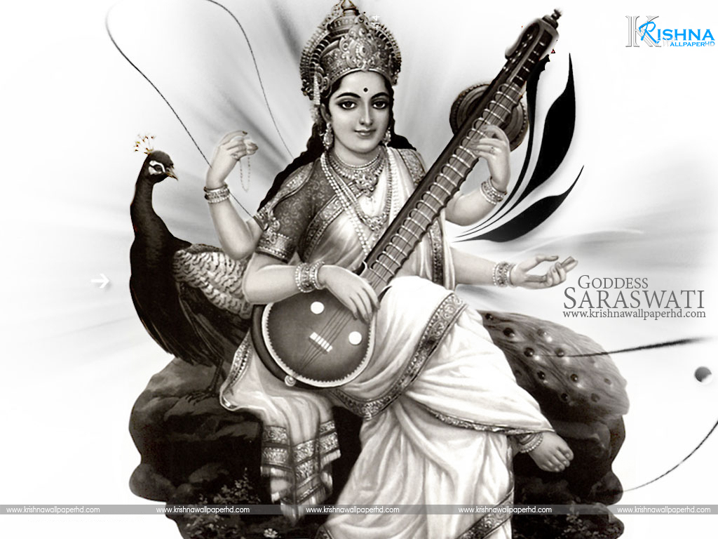 Goddess Saraswati Black and White Photo Free Download