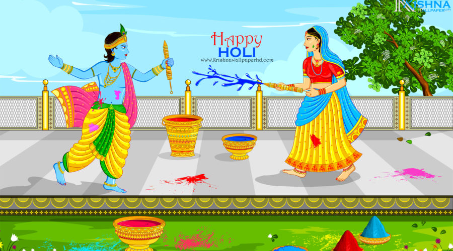 Lord Krishna and Radha Playing Holi Wallpaper in Full HD Size Free Download